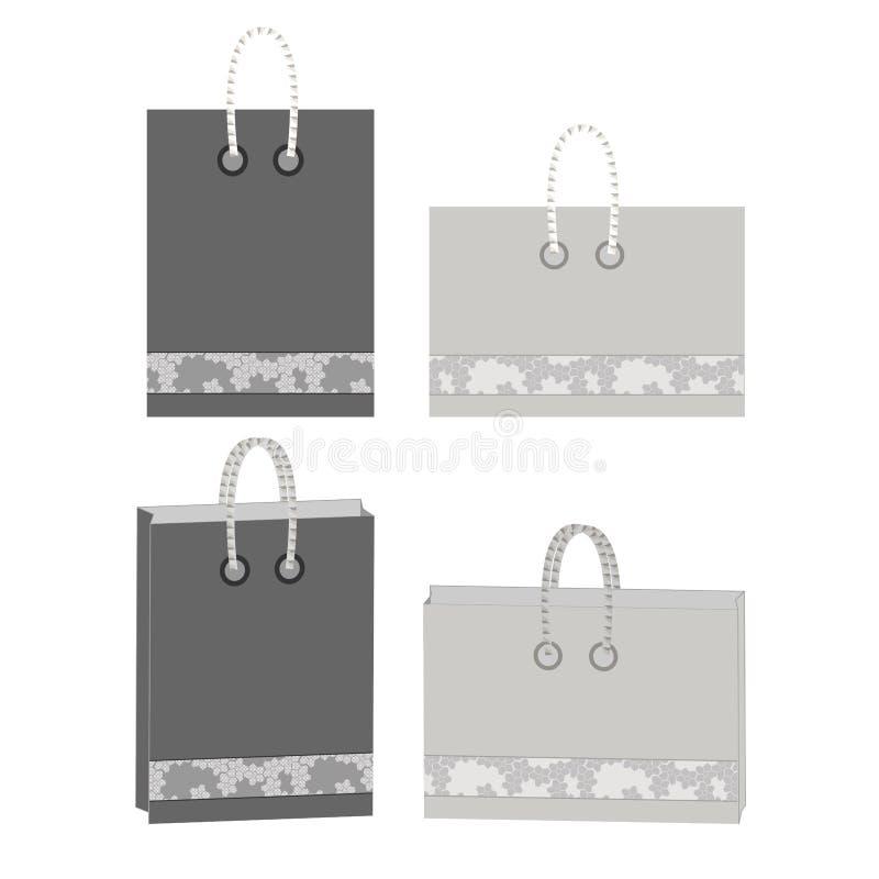 Projeto dos sacos de papel minimalism Somente beiras do hexágono e cor completa ilustração stock