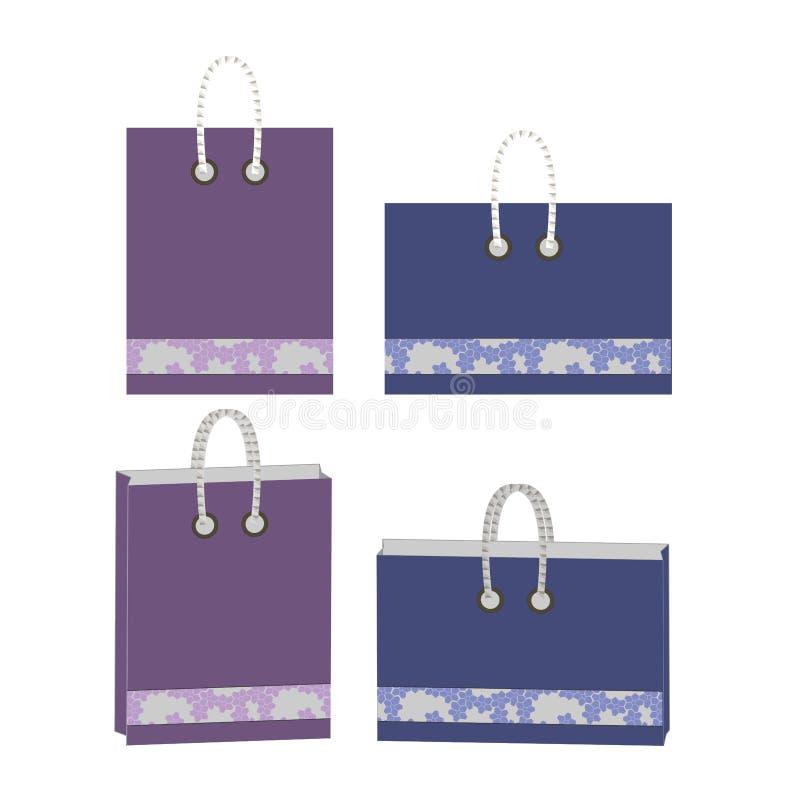Projeto dos sacos de papel minimalism Somente beiras do hexágono e cor completa ilustração royalty free