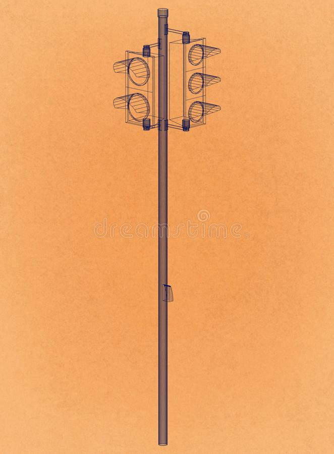 Projeto dos sinais - arquiteto retro Blueprint ilustração stock