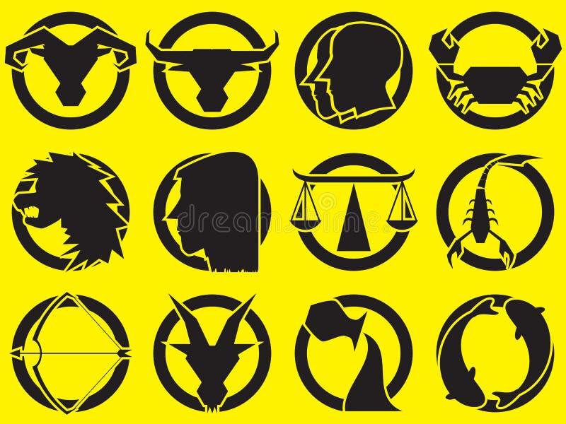 Projeto dos sinais do zodíaco no grupo do círculo Ilustração do vetor ilustração royalty free