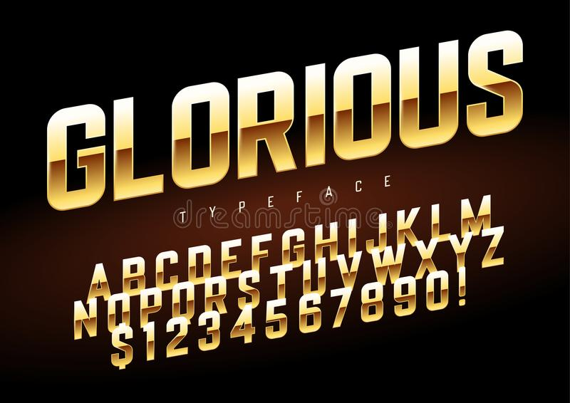 Projeto dourado brilhante da fonte da exposição do vetor, alfabeto, jogo de caracteres ilustração stock