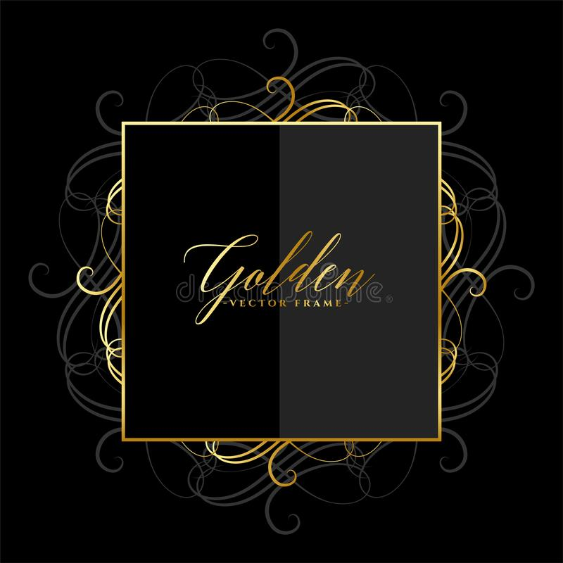 Projeto dourado brilhante floral decorativo do quadro ilustração do vetor