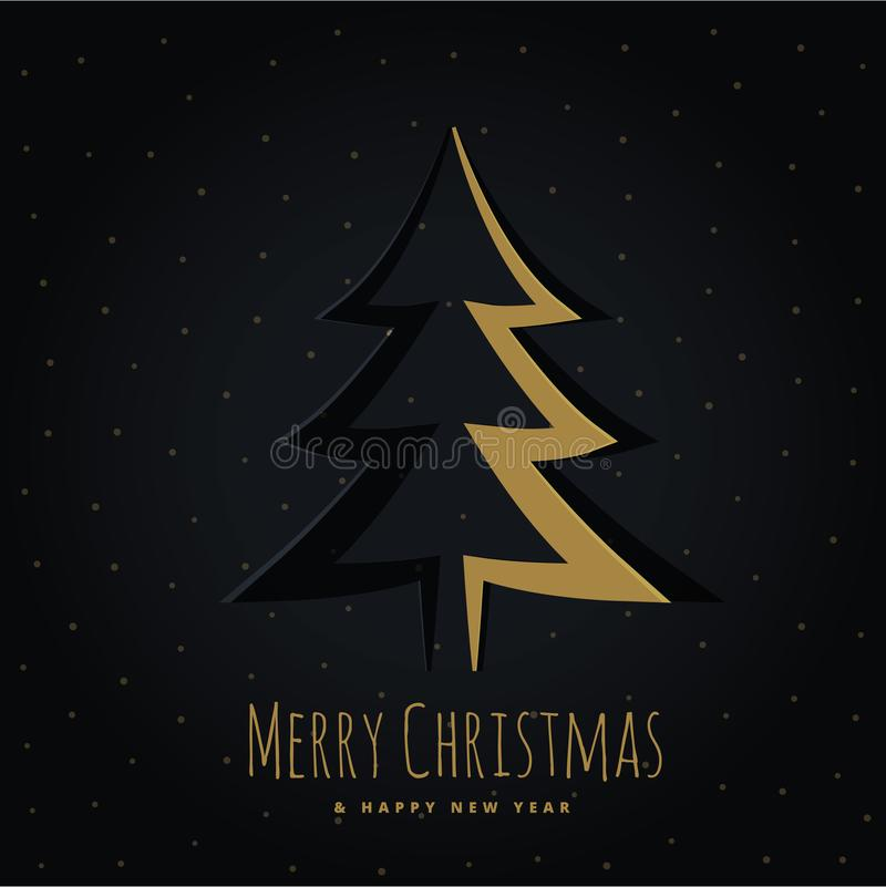 Projeto dourado da árvore de Natal no estilo do origâmi ilustração royalty free