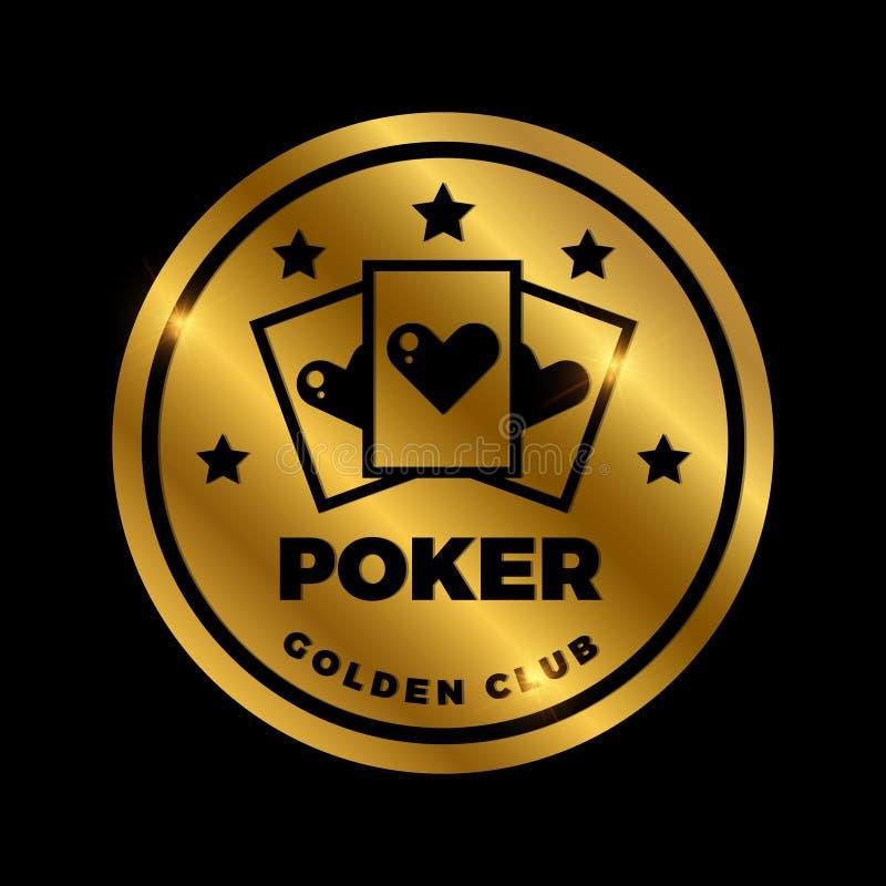Projeto dourado da etiqueta do pôquer do brilho Ícone dourado do casino do vetor ilustração do vetor