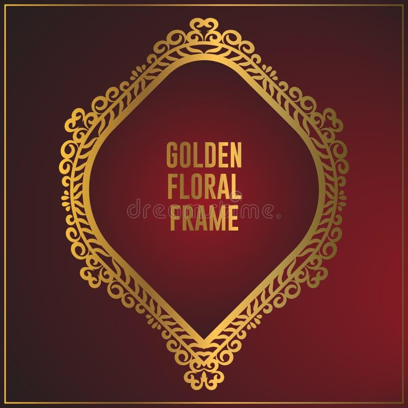 Projeto dourado decorativo luxuoso do quadro Projeto do fundo do quadro do ouro com o ornamento floral luxuoso ilustração stock