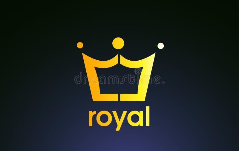 Projeto dourado do ícone do logotipo da coroa do rei do ouro ilustração do vetor