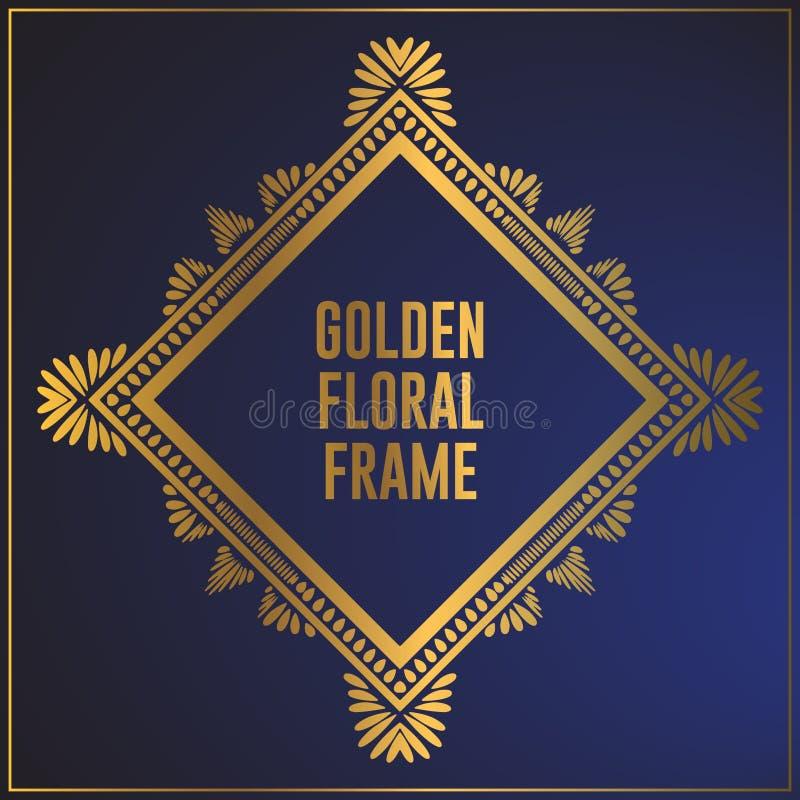 Projeto dourado do quadro do ornamento floral Projeto do fundo do quadro do ouro com o ornamento floral luxuoso Aplicado em proje ilustração do vetor