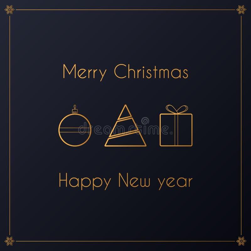 Projeto dourado luxuoso do vetor simples moderno do cartão de Natal ilustração royalty free