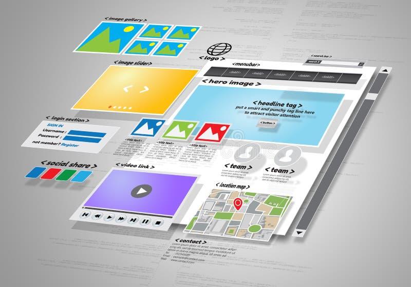 Projeto e projeto de desenvolvimento do Web site ilustração do vetor