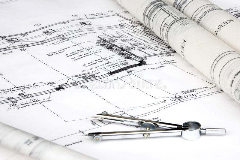 Projeto e desenho de engenharia foto de stock