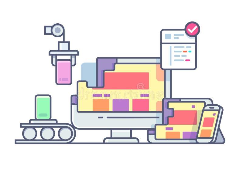 Projeto e desenvolvimento do Web site ilustração do vetor
