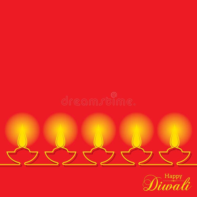 Projeto e texto à moda para a celebração de Diwali ilustração royalty free