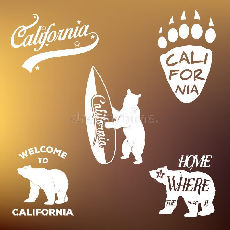 Projeto e urso da forma do fato do t-shirt da república de Califórnia do vintage ilustração do vetor