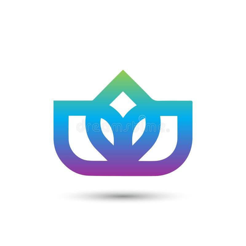 Projeto elegante abstrato do vetor do ícone do logotipo da flor Símbolo superior criativo universal Sinal gracioso do vetor da jo ilustração stock