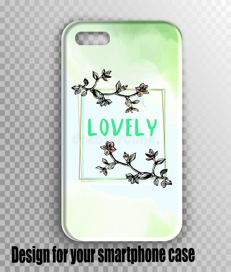 Projeto elegante com ramos da flor de cerejeira - caso da aquarela do iphone fotografia de stock