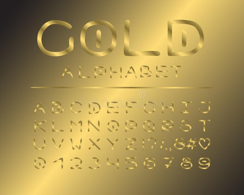 Projeto elegante do alfabeto Estilo luxuoso da cor Letras inglesas, números, marcas de pontuação Tipografia do vetor da fonte de  ilustração do vetor