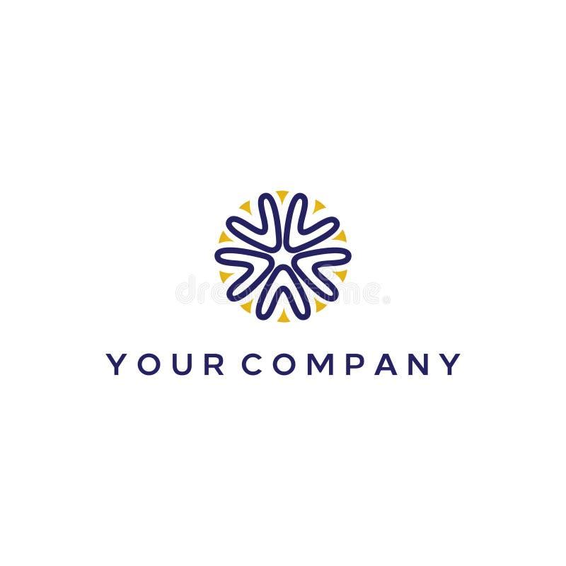 Projeto elegante do logotipo com a letra de A e de V que forma a estrela do mar ou os recifes de corais ilustração stock