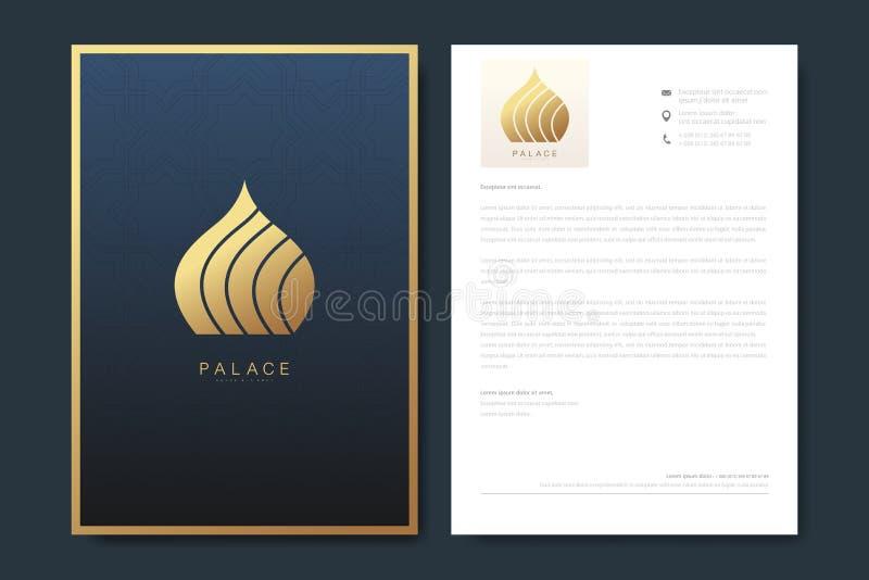 Projeto elegante do molde do cabeçalho no estilo minimalista com logotipo Projeto de negócio luxuoso dourado para a tampa, bandei ilustração royalty free