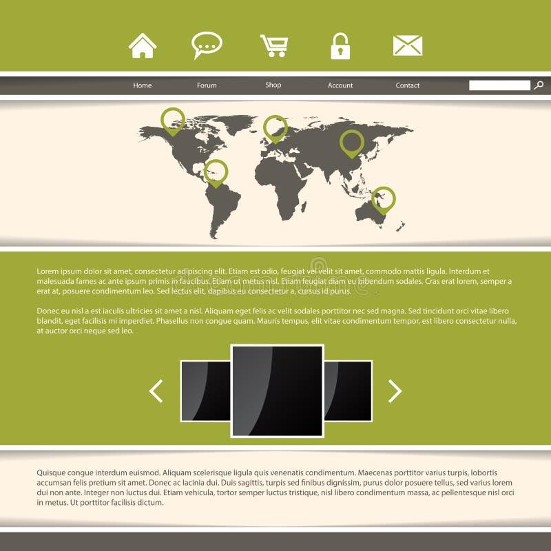Projeto elegante do molde do Web site com listras verdes ilustração do vetor
