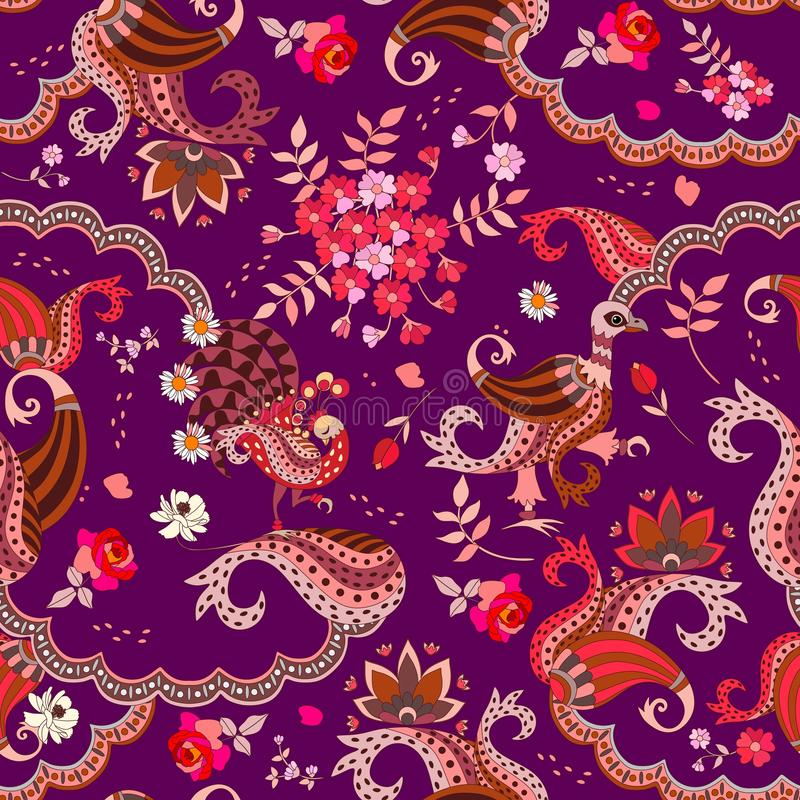 Projeto elegante para o lenço Teste padrão étnico sem emenda com pássaros da fantasia, ramalhete das flores, folhas e paisley Vet ilustração stock