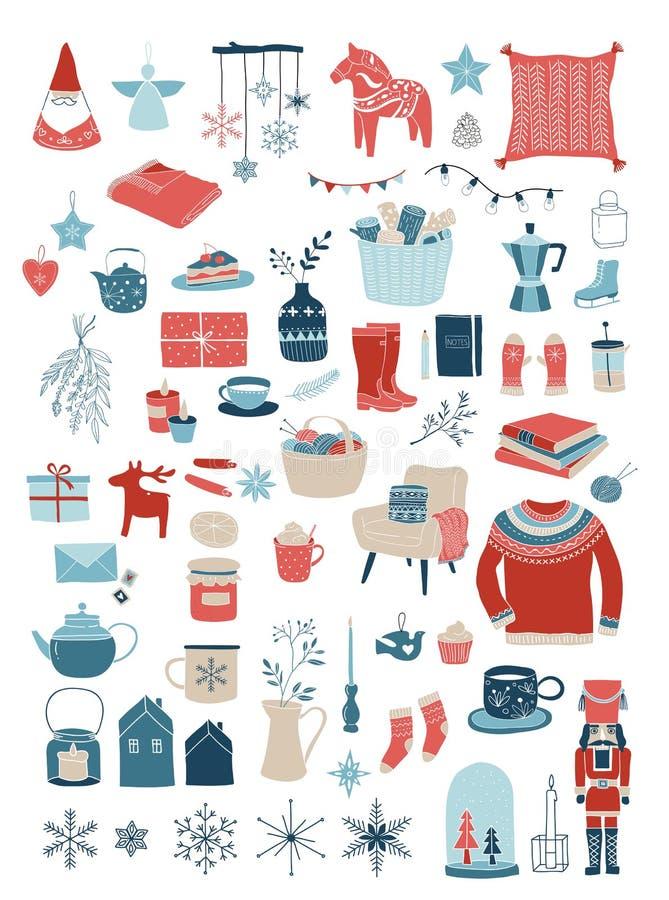 Projeto elementos do inverno e de conceito nórdicos, escandinavos de Hygge, cartão do Feliz Natal, bandeira, fundo ilustração do vetor