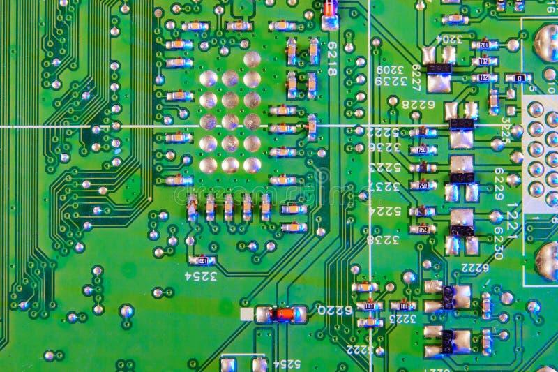 Projeto eletrônico da placa, microplaqueta digital do cartão-matriz Fundo da ci?ncia da tecnologia imagem de stock