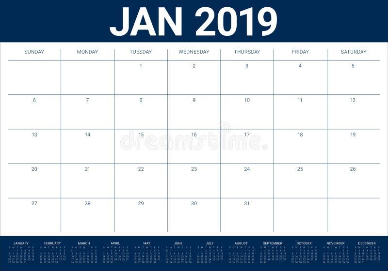 Projeto em janeiro de 2019 de mesa do calendário do vetor da ilustração, o simples e o limpo ilustração do vetor