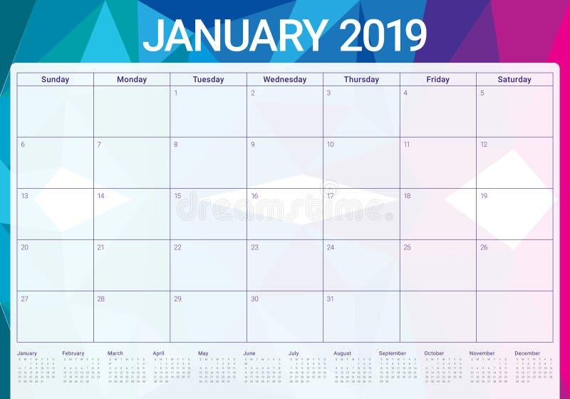 Projeto em janeiro de 2019 de mesa do calendário do vetor da ilustração, o simples e o limpo ilustração stock