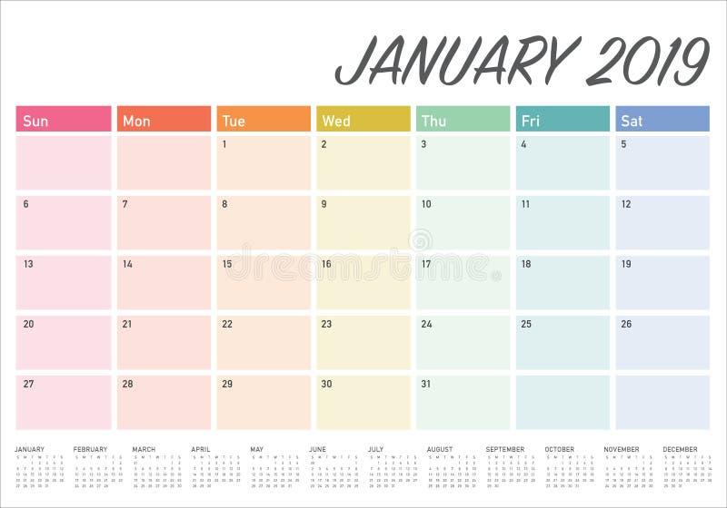 Projeto em janeiro de 2019 de mesa do calendário do vetor da ilustração, o simples e o limpo ilustração royalty free