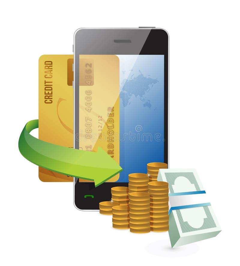 Projeto em linha da ilustração da compra do smartphone ilustração stock