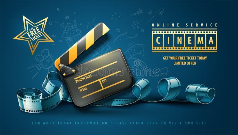 Projeto em linha do cartaz cinematográfico da arte do cinema ilustração stock
