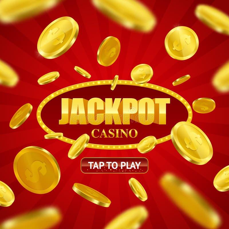 Projeto em linha do fundo do casino do jackpot ilustração stock