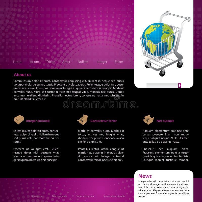 Projeto em linha do molde do Web site da compra ilustração do vetor