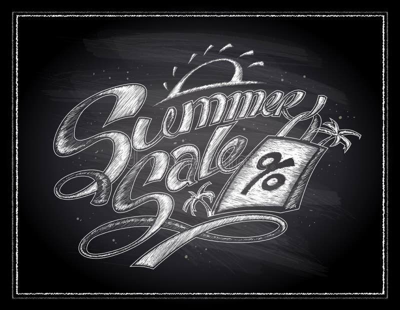 Projeto em um quadro, da venda do verão do giz ilustração tirada mão com saco de compras ilustração stock