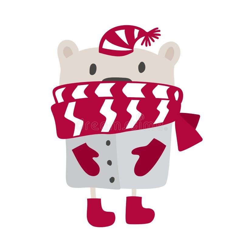 Projeto escandinavo do estilo do Natal Ilustração tirada mão do vetor de um urso engraçado bonito do inverno em um silencioso, in ilustração stock