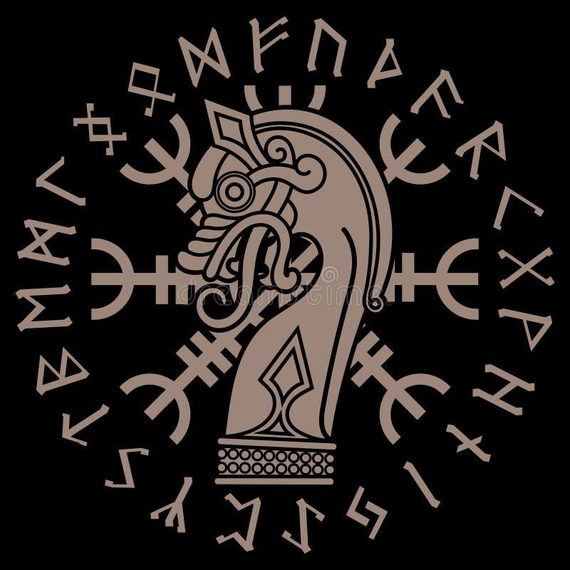 Projeto escandinavo A figura nasal do navio Drakkar de Viking sob a forma de um dragão, leme do incrédulo e círculo rúnico ilustração royalty free
