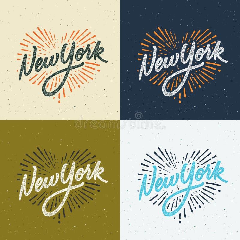 Projeto escrito à mão do fato do t-shirt de New York do vintage ilustração royalty free