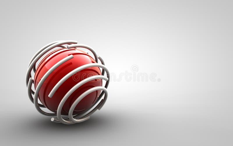 Projeto - esfera vermelha prendida ilustração stock