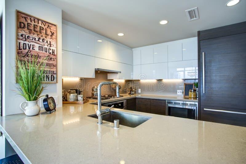 Projeto espaçoso moderno da cozinha do ` s do cozinheiro chefe com acentos brancos e pretos foto de stock