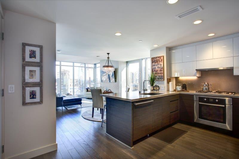Projeto espaçoso moderno da cozinha do ` s do cozinheiro chefe com armários brancos fotos de stock royalty free