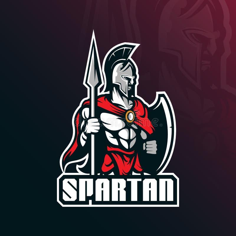Projeto espartano do vetor do logotipo da mascote com estilo moderno do conceito da ilustração para o crachá, o emblema e a impre ilustração do vetor