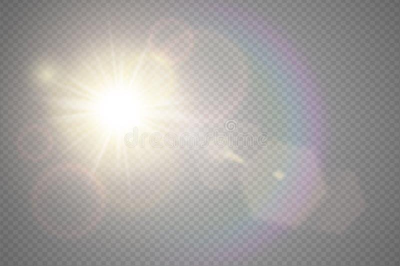 Projeto especial translúcido do efeito da luz do alargamento dianteiro dourado abstrato da lente do sol Borrão do vetor no brilho ilustração do vetor