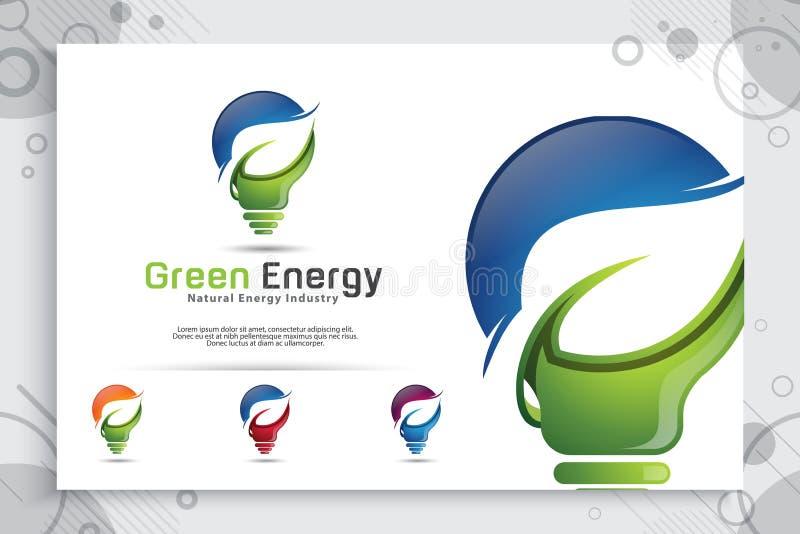 Projeto esperto verde do logotipo do vetor da ideia da energia com conceito moderno do estilo da cor, lâmpada digital da inovação ilustração royalty free