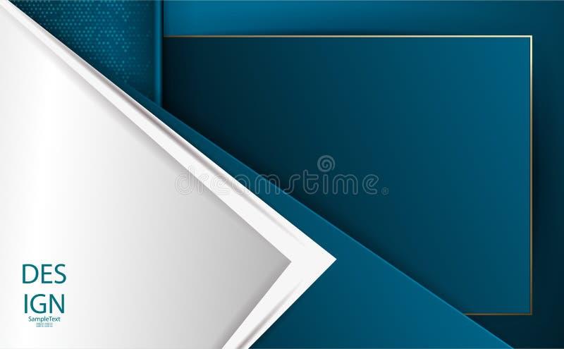 Projeto estrutural azul geométrico do sumário com seta branca ilustração do vetor