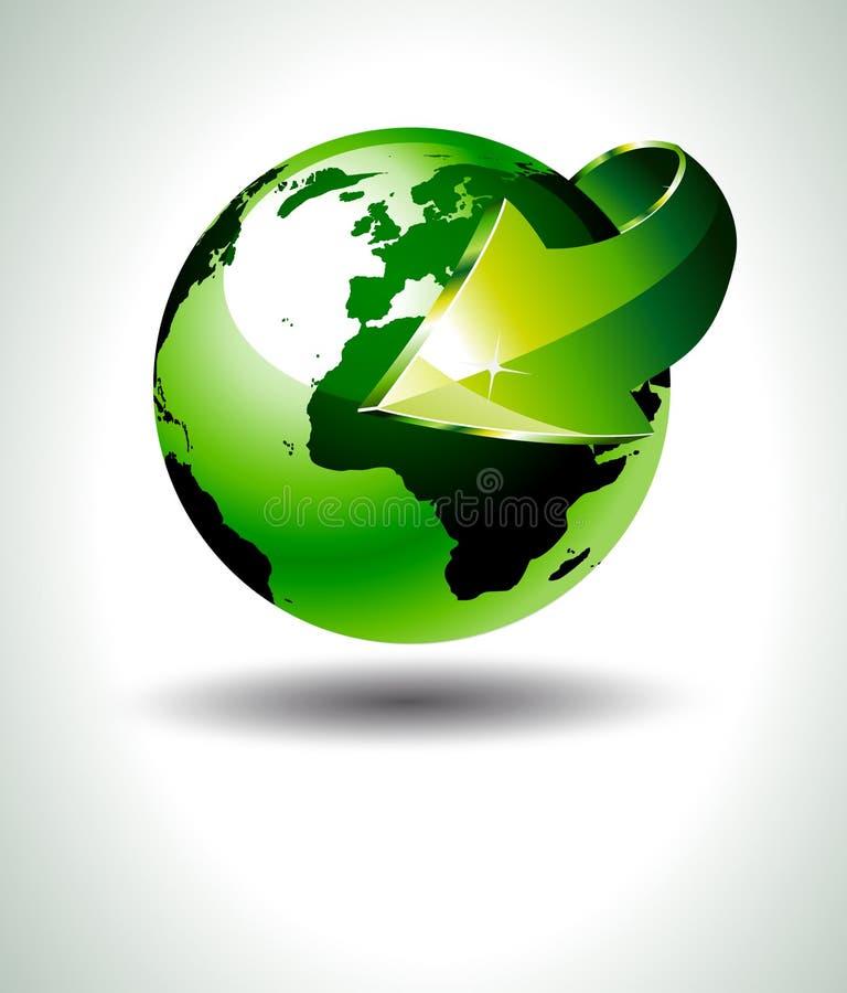 Projeto exato da terra 3D com verde ilustração royalty free