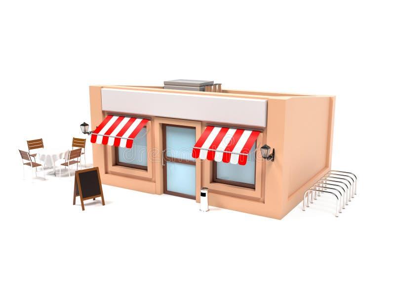 Projeto exterior completo da loja do mercado ilustração stock