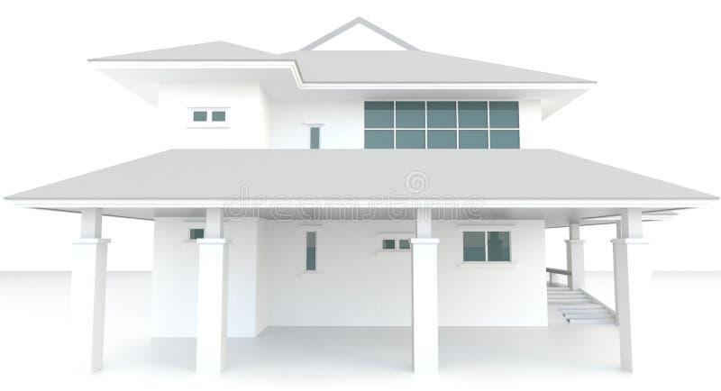 projeto exterior da arquitetura branca da casa 3D no whi ilustração stock