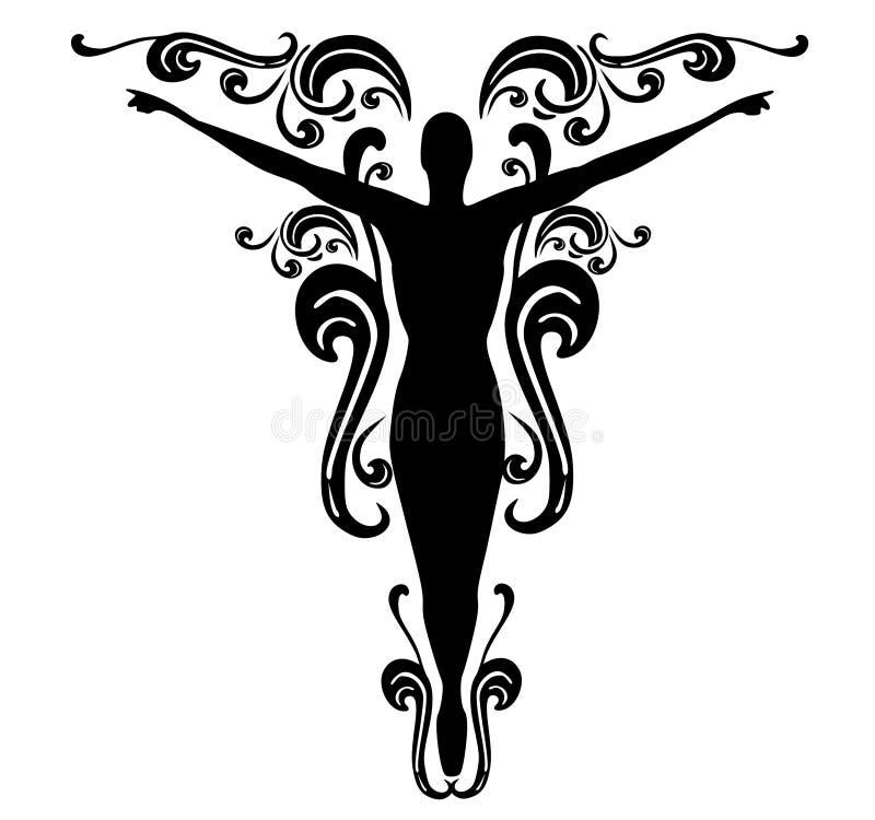 Projeto fêmea 3 do tatuagem dos Flourishes ilustração stock