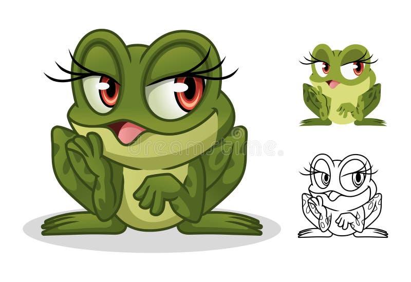 Projeto fêmea da mascote do personagem de banda desenhada da rã ilustração stock