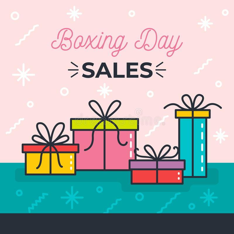 Projeto feliz com caixas de presente, economias grandes de compra da venda da São Estêvão do feriado foto de stock royalty free